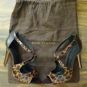 Elie Tahari Leopard Pony Hair Strappy Heels